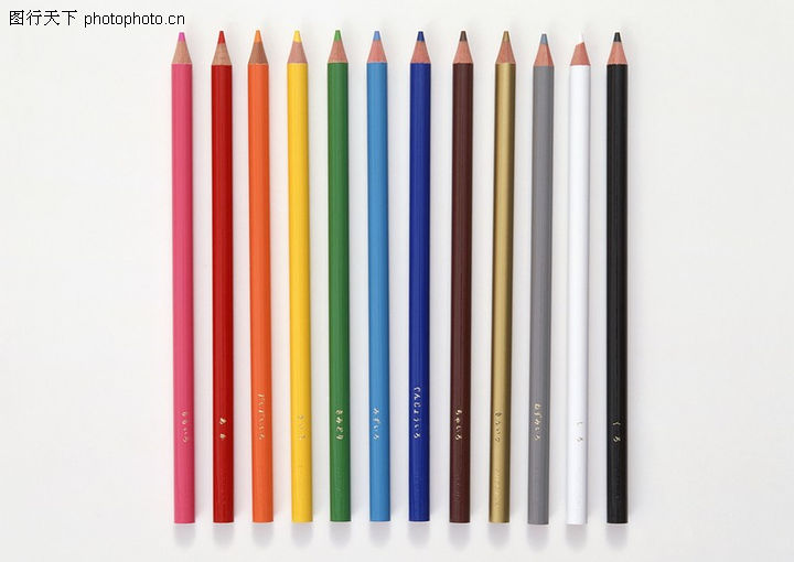 办公用品 商业金融 彩色 铜笔 排列