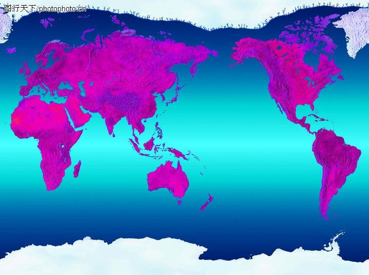 地球平面图 海洋用青与蓝渐变表示 对衬渐变 图像编辑,地球剖析0126