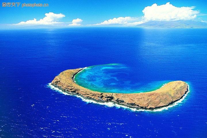 沙滩大海,自然风景,月牙岛 岛屿 海洋,沙滩大海0024