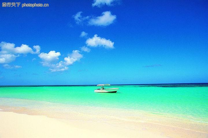 沙滩大海,自然风景,蓝天白云