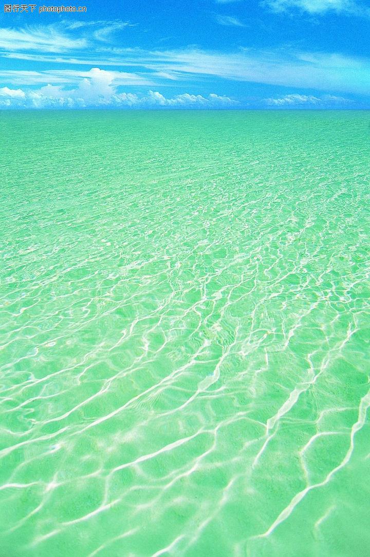 沙滩大海 自然风景 海水 碧绿 晴天