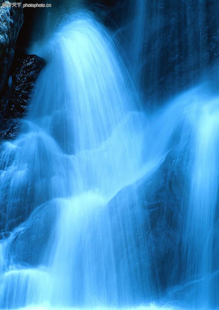 自然世界,自然风景,飞流直下 蓝色 水雾,自然世界0250