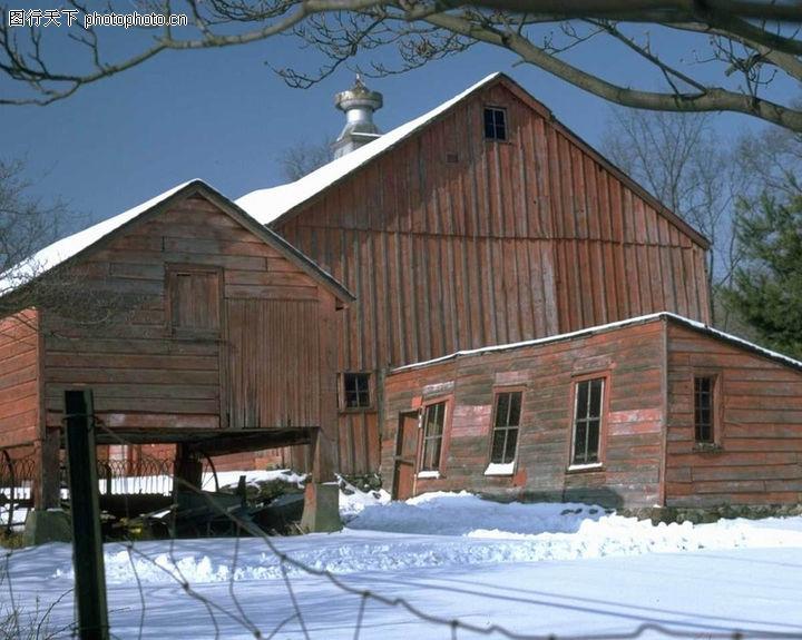 园林别墅,园林,平房 下雪