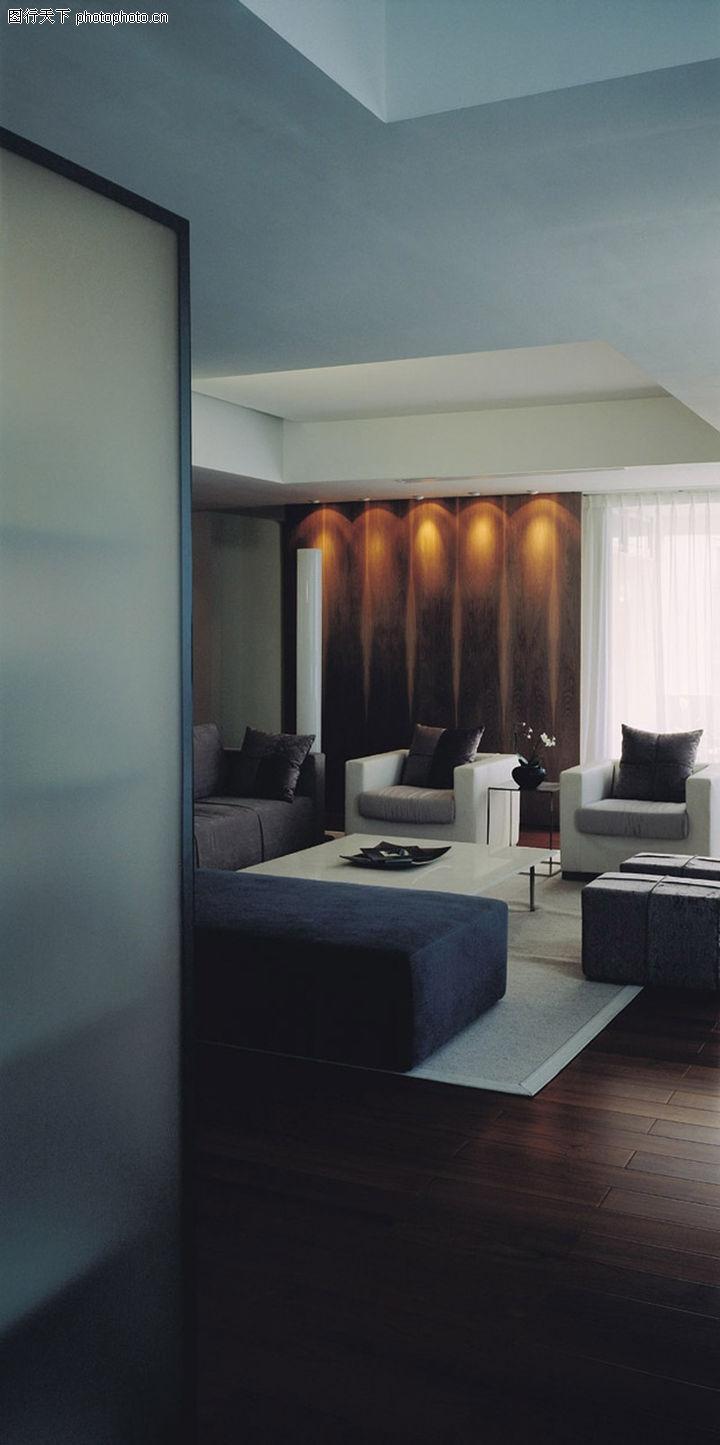 室内装饰,装饰,单人沙发 进口木地板 方形茶几 黑白搭配,室内装饰0134