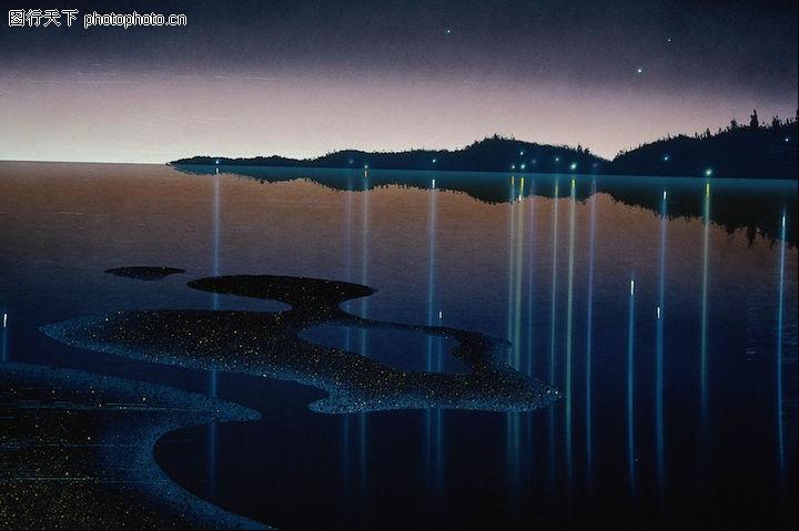 风景图画 广告创意 夜晚 星空 湖面