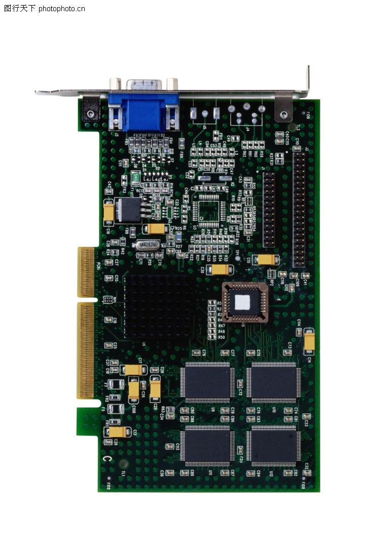 电子元件,科技,显卡 电路板 正面,电子元件0001
