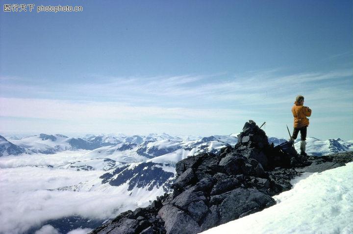 冬季运动,运动,登山 运动员 雪山 云海,冬季运动0238