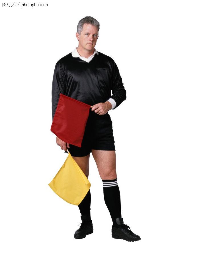 竞技英姿,运动,红色小旗 黄色旗帜 裁判员 老外 黑色球衣,竞技英姿0125