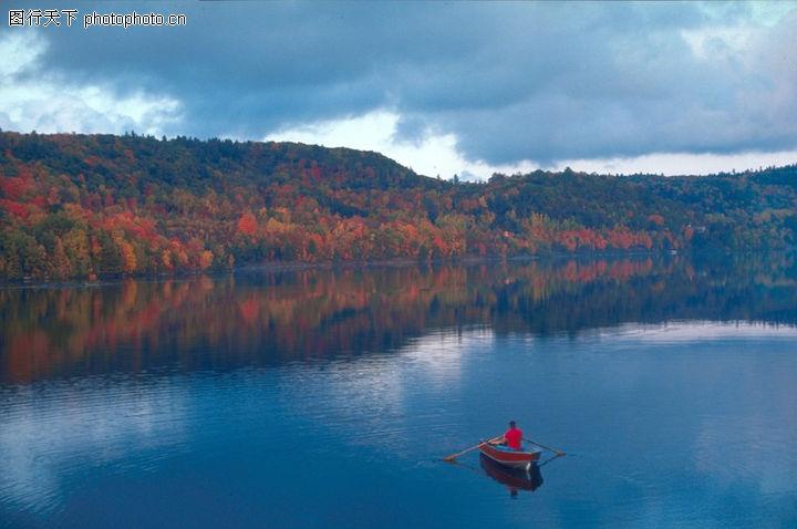 秋天景色 自然风景 景色 泛舟 名胜