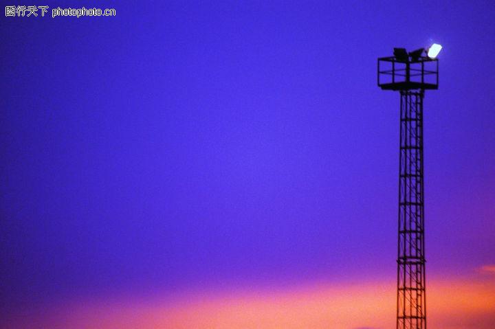 黄昏夜景,自然风景,灯塔 夜间 指航灯,黄昏夜景0009