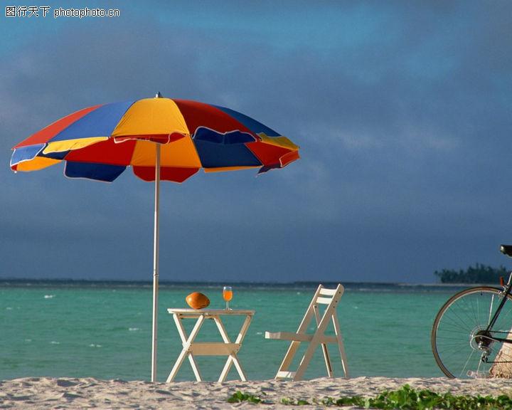 旅游风光,世界风光,太阳伞 海滩 椅子,旅游风光0105