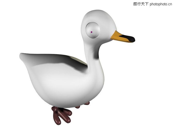 3d动物图案,漫画卡通,白鸭 圆眼 侧面,3d动物图案0007