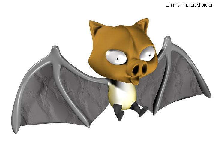 3d动物图案,漫画卡通,动画 蝙蝠 猪鼻,3d动物图案0111
