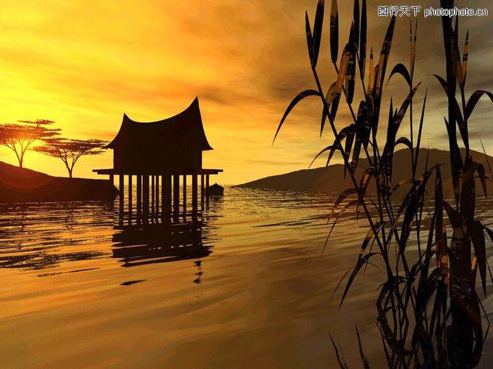 中华山水,中国图片,水草 吊脚楼 水面,中华山水0056