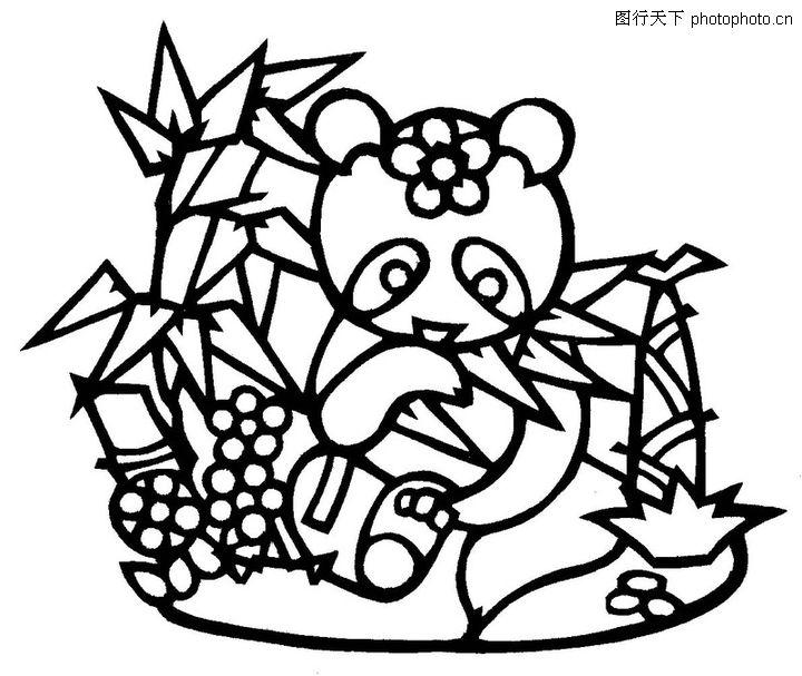 熊猫和竹子简笔画