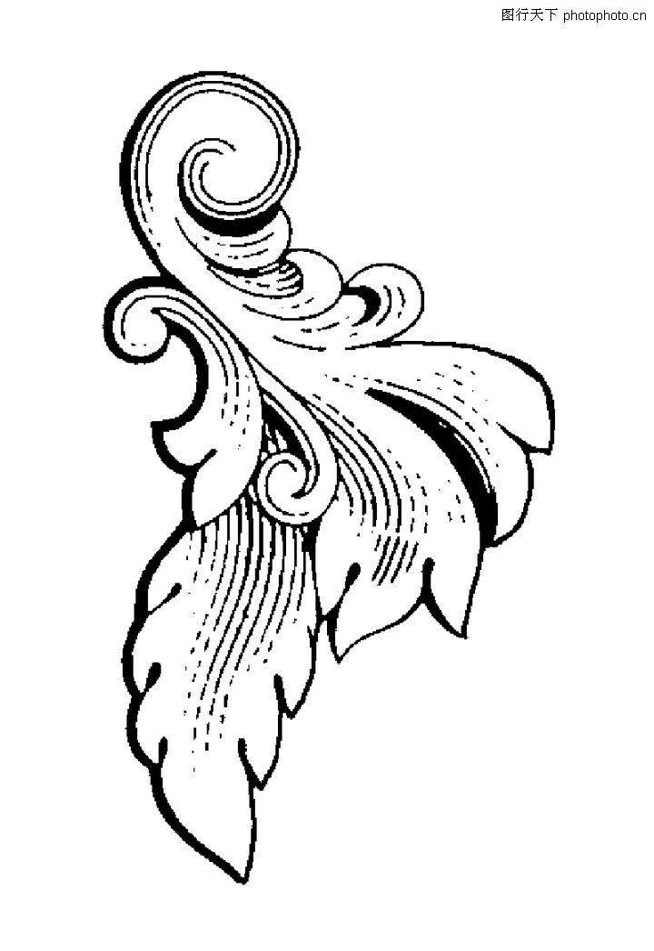 古代图案花纹 中国图片 边角 叶片 卷曲