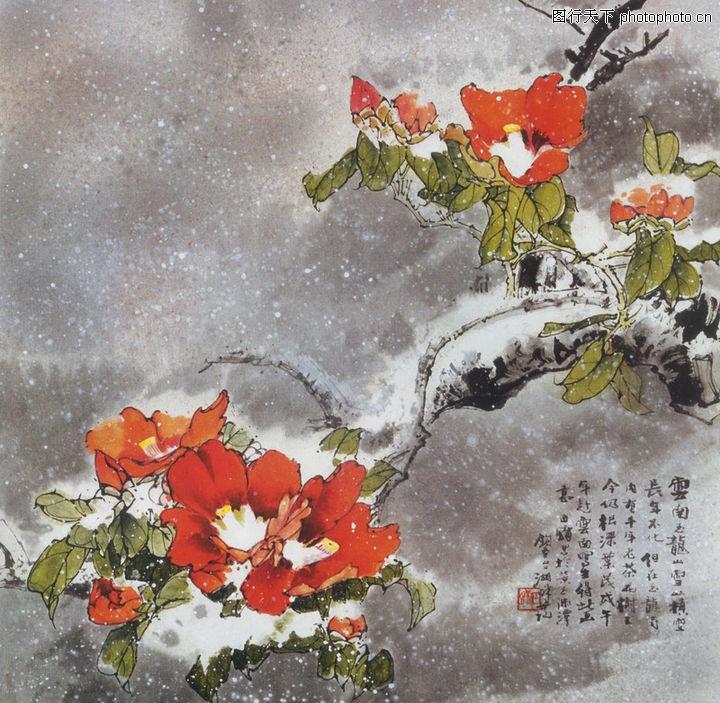 中國現代花鳥,山水名畫,樹枝 國畫,中國現代花鳥0183
