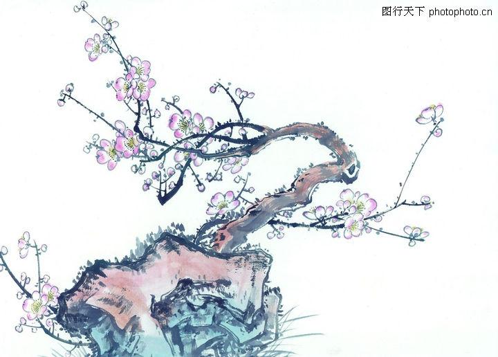 山水名画,梅花画