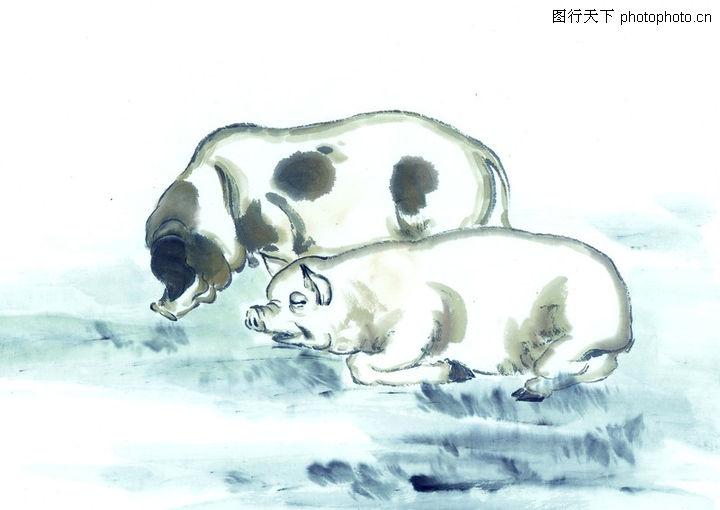 有山有水有人的铅笔画-中国动物画0093  中国动物画 山水名画 池塘 猪娃娃 洗澡评 级: