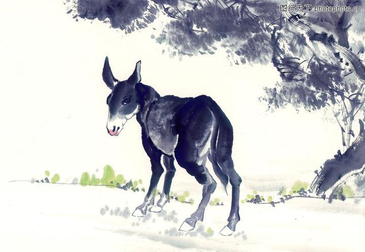 中国动物画,山水名画,小毛驴 在树下 小绿草,中国动物画0102