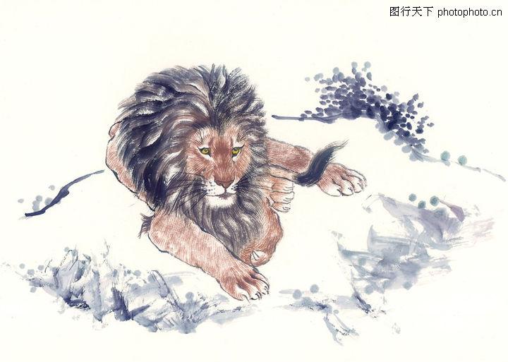 中国动物画,山水名画,狮头 动物 凶猛,中国动物画0111