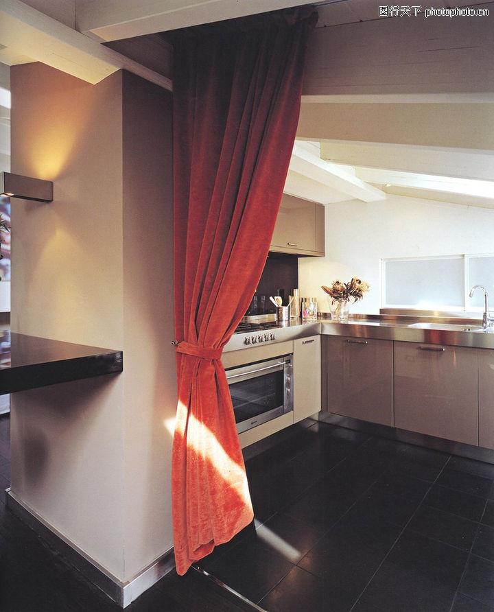 厨房设计 餐饮 门帘 搁板 地板