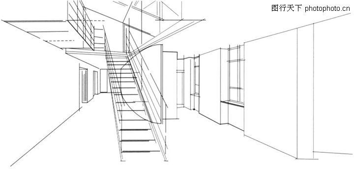 楼梯高清手绘效果图