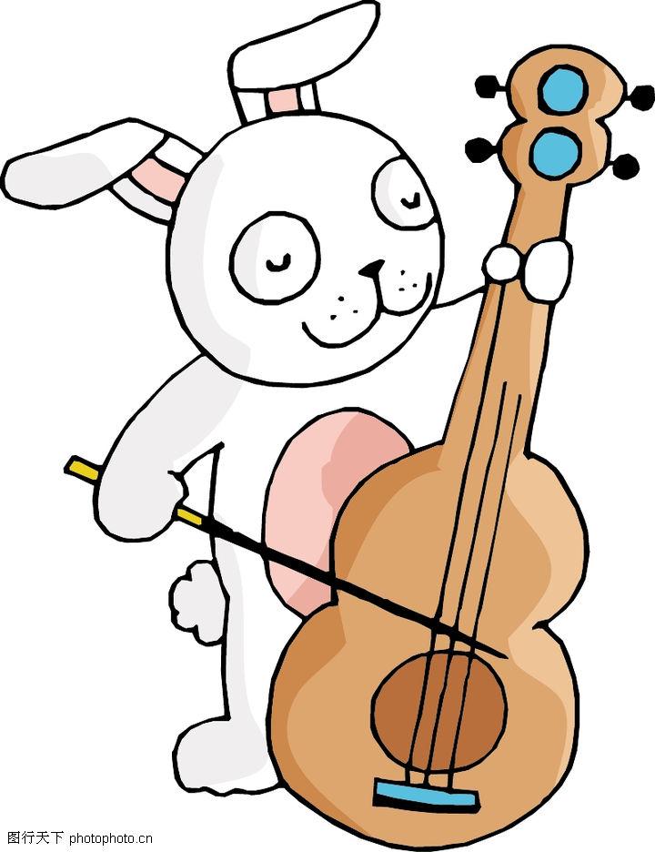 卡通形象,动物,拉琴 吉它 小兔子,卡通形象0001