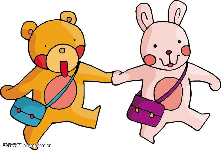 心相印手牵手(青云&兰儿美雪); 小猪和小兔矢量图__家禽家畜; 卡通