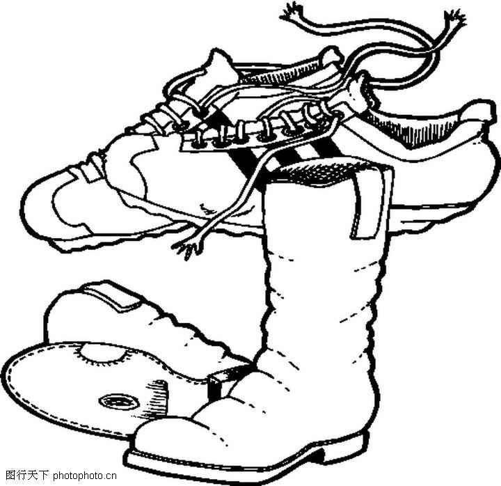 鞋子在简单黑白手绘画