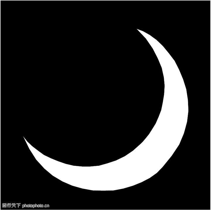 弯月亮 黑白 手绘