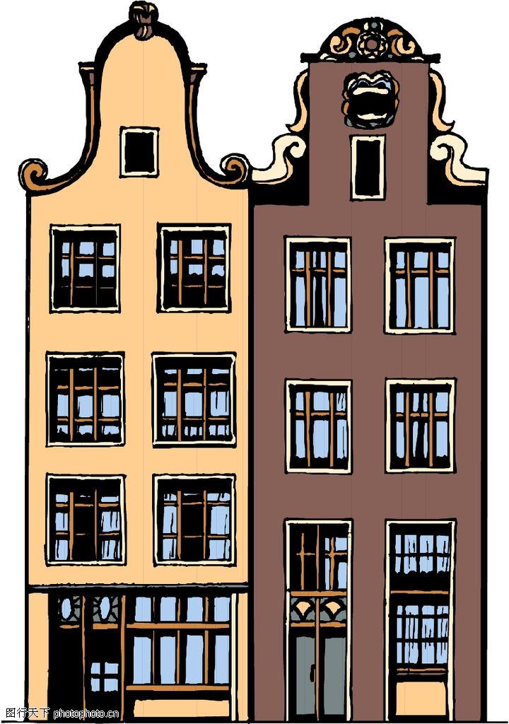 卡通建筑,名胜地理,欧式建筑