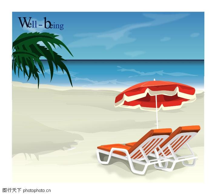自然风景图库 沙滩 躺椅 阳伞