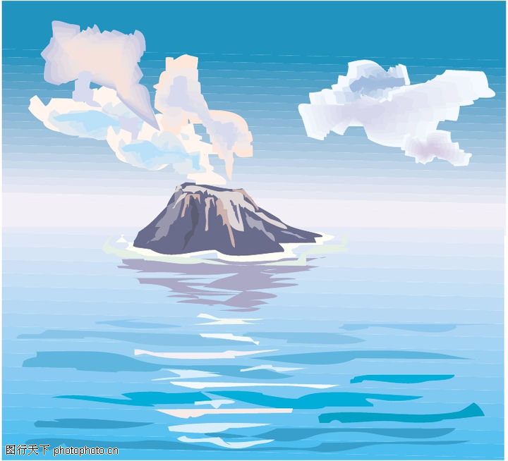 山水,自然风景,火山 海岛,山水0028