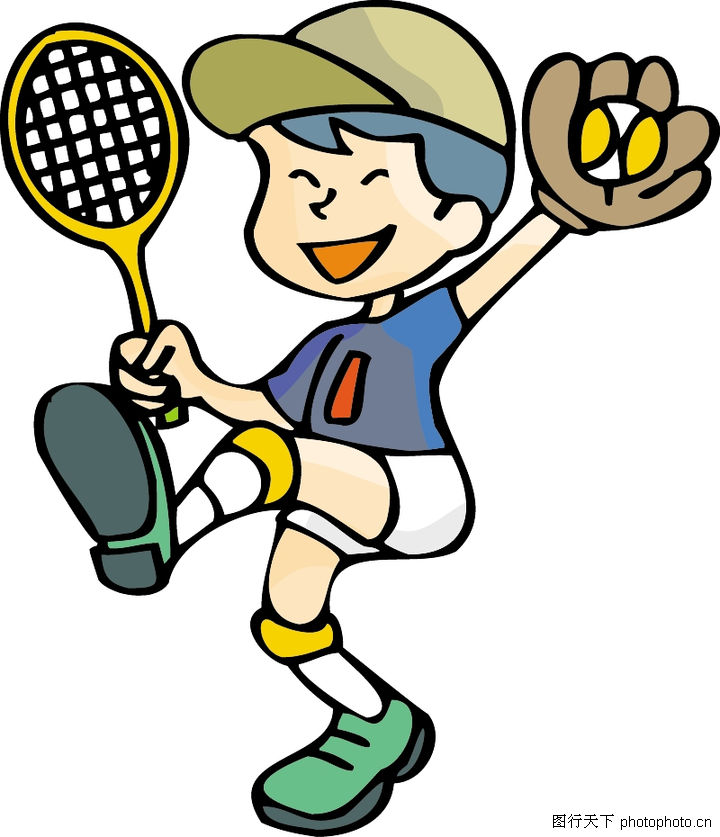 网球卡通_绿色网球拍卡通画矢量图