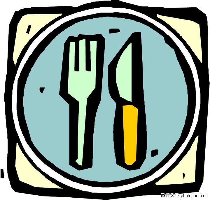 卡通用品,漫画卡通,盘子里的刀叉