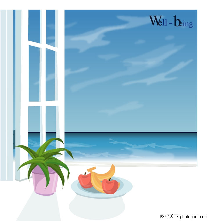 室内装饰,建筑装饰,窗台 盆某 水果,室内装饰0010