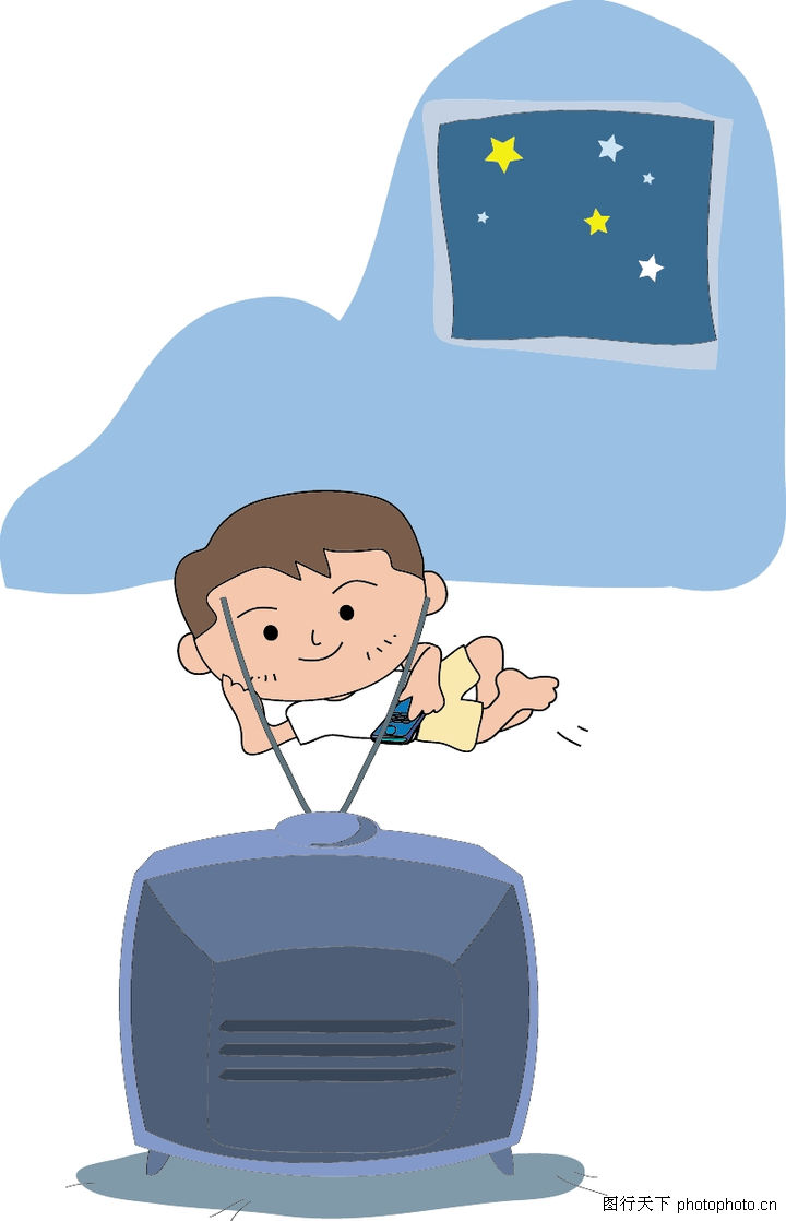 小孩看电视矢量图;; 儿童写实0066.