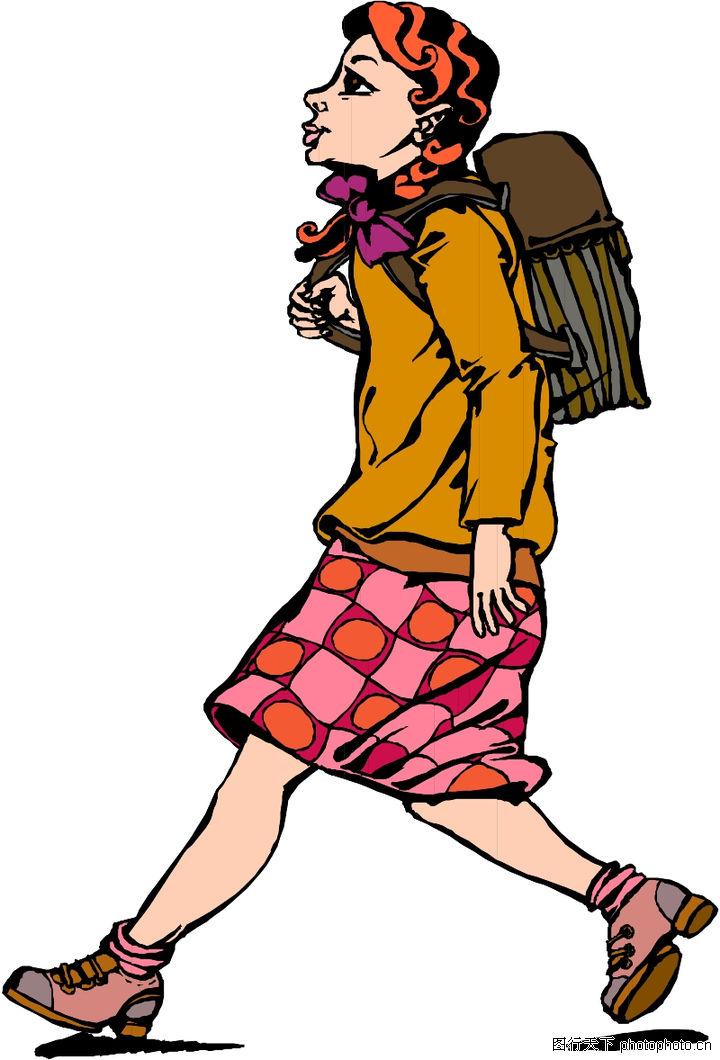 步行 背着书包