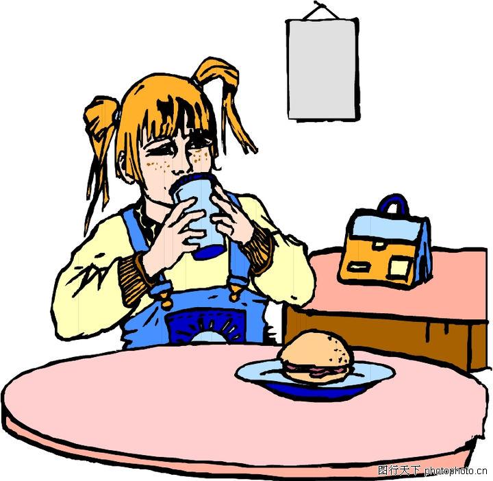 儿童,儿童世界,吃午饭 一个汉堡 喝饮料,儿童0073图片