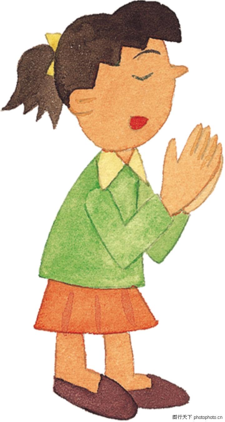儿童 插画 祈祷; 绘画人物 图片素材-人物图片素材-蚂蚁图库-千万级