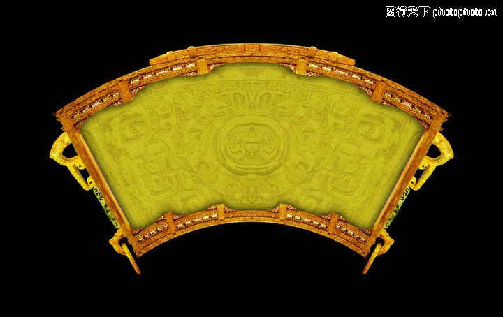 古典边框 古建瑰宝 扇形 弧状 黄绿色
