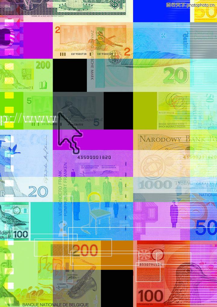 网路商机,未来科技,面值大小 各色货币 五颜六色 印刷 箭头,网路商机0019