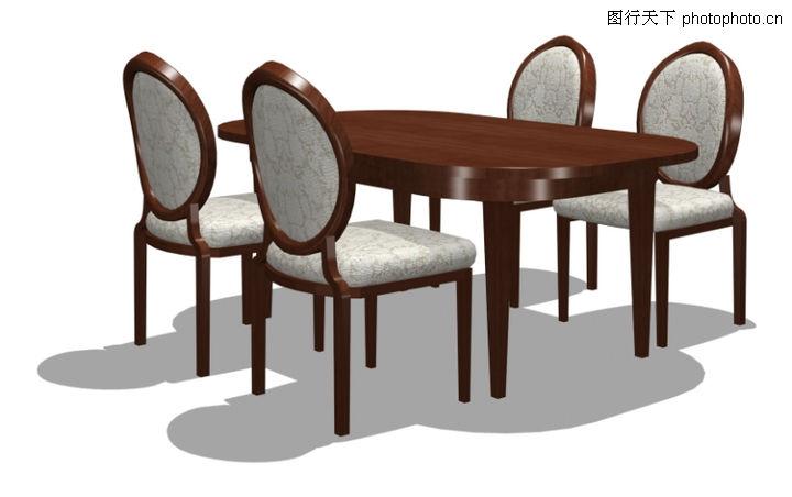 家具模型,装饰,桌椅 餐桌 木椅,家具模型0021