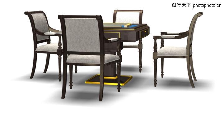 家具模型,装饰,麻将桌 四方桌 椅子,家具模型0035