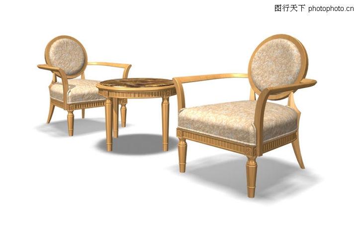 家具模型,装饰,欧式家具 圆圆靠背 高雅茶几,家具模型0180