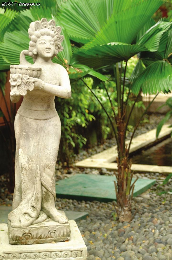醉心巴厘岛spa,休闲保健,雕像 绿叶 风景,醉心巴厘岛spa0069