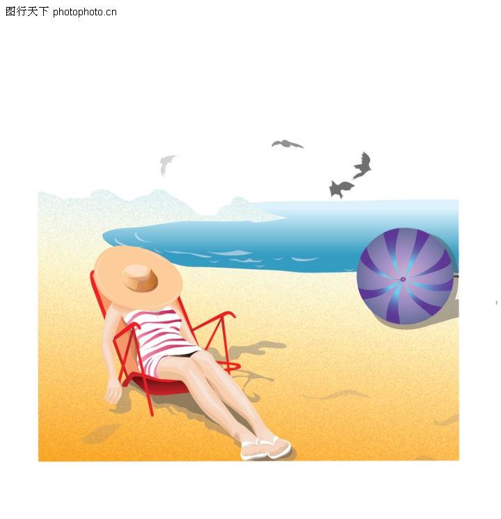 标题插画图库 沙滩 躺椅 阳光浴