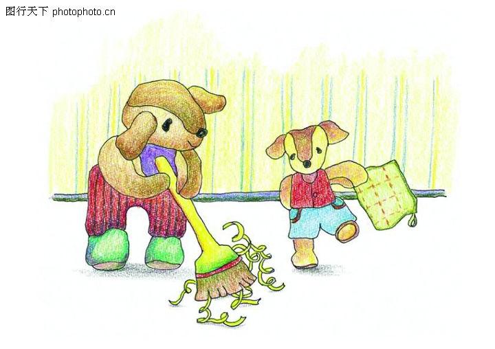 标题插画,扫地