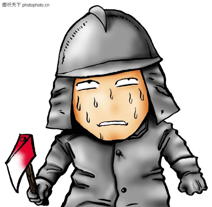 趣味插画,标题插画,武士 斧子 出汗,趣味插画0052